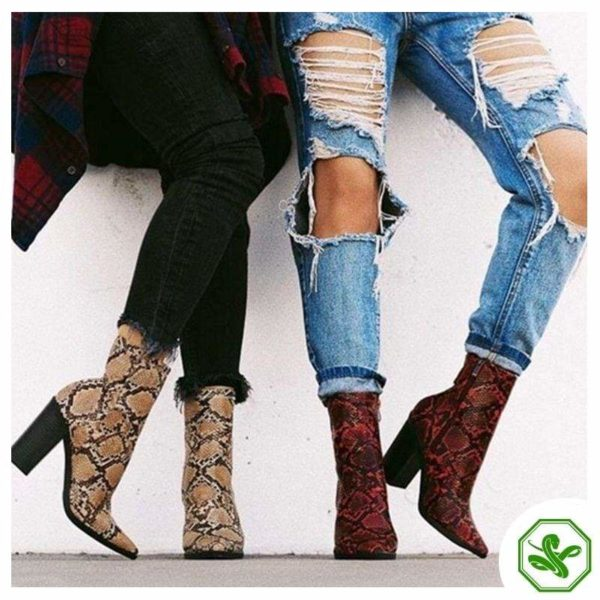 womens red snakeskin boots