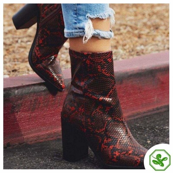 red snakeskin boots womens