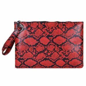 red snakeskin clutch bag