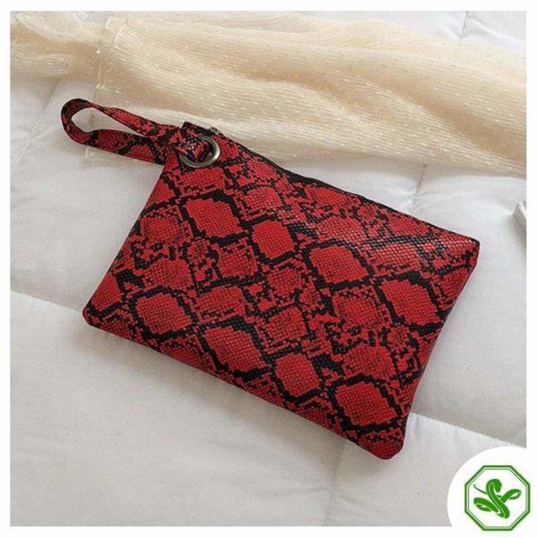 women's red snakeskin clutch bag
