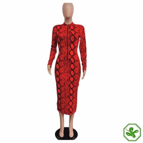 Snakeskin Dress Red