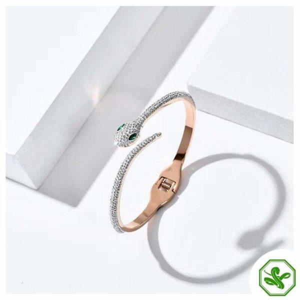 rhinestone snake bracelet with green eyes