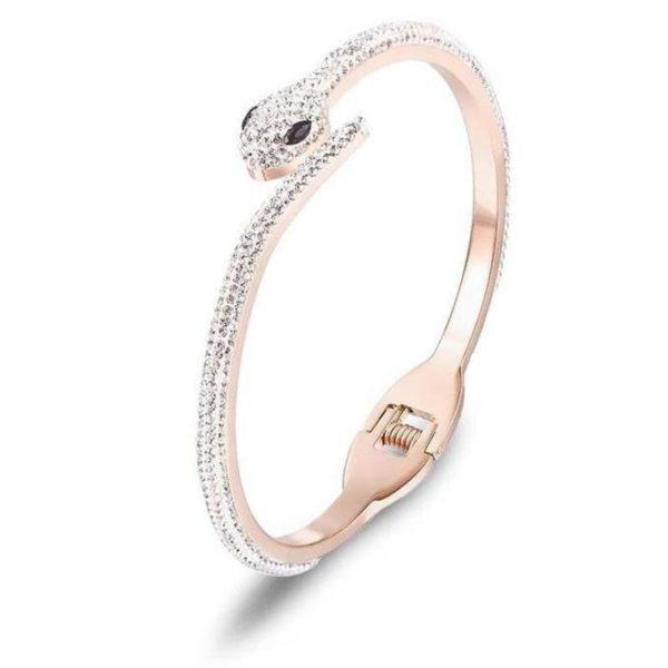 pink rhinestone snake bracelet