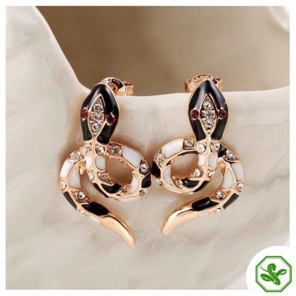 snake stud earrings pink gold