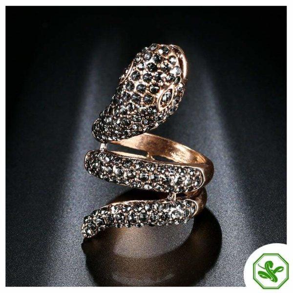 snake ring steel gold