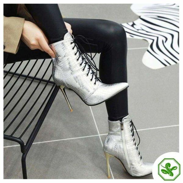 silver snake peint heel boots