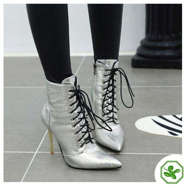 silver snake print boots
