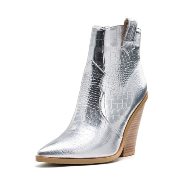 silver snake boots