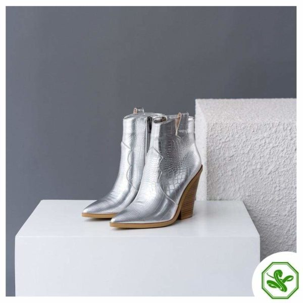 silver snake boots for woman