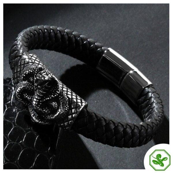 leather black snake bracelet
