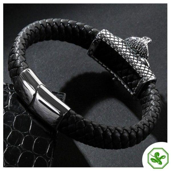leather snake bracelet cobra