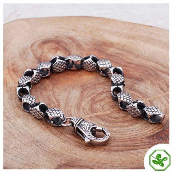 steel and black snake bracelet