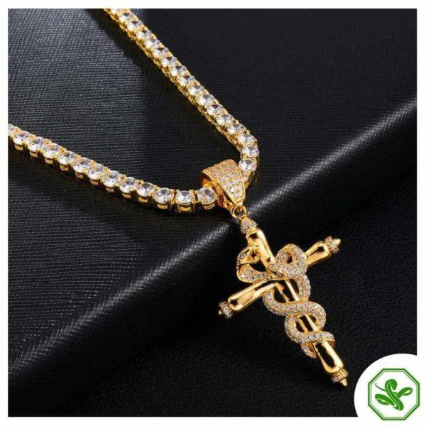 Snake Cross Necklace 2