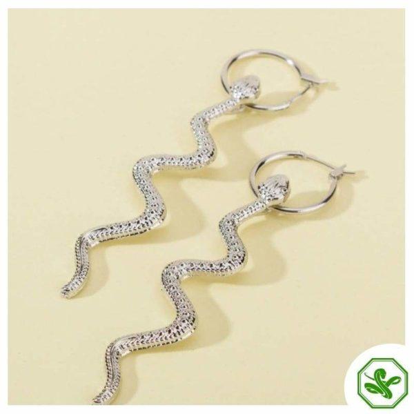 icing silver stud snake earrings