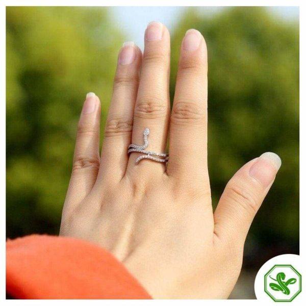 small diamond snake ring