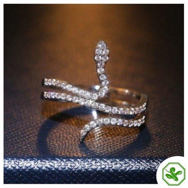 coiled diamond snake ring