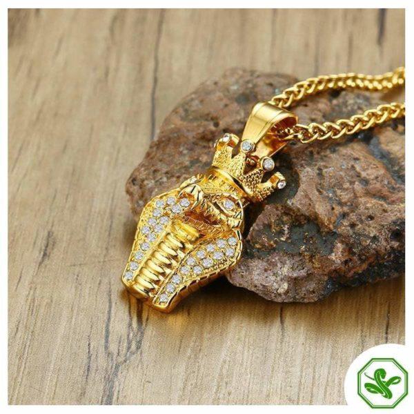 gold snake pendant for men