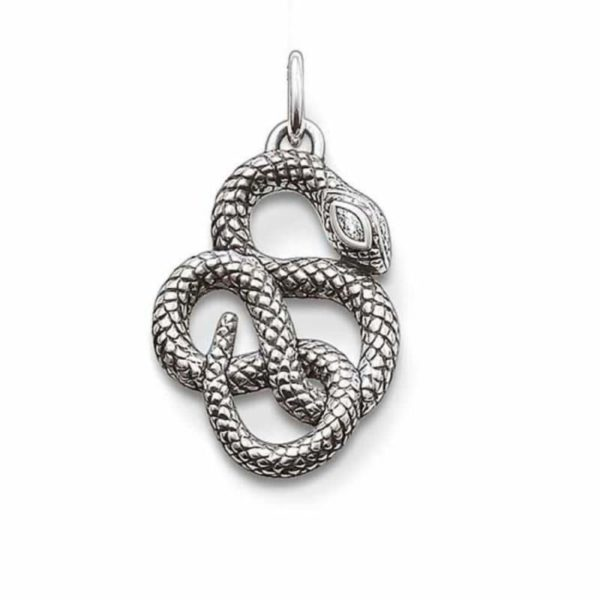 snake pendant knotted silver