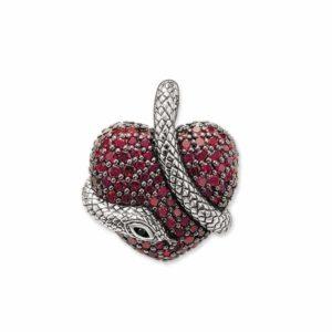 ruby heart snake pendant