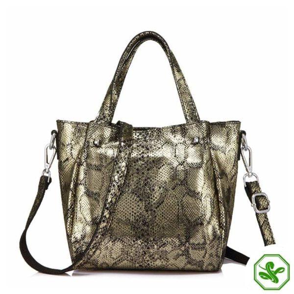 snake print bag gold