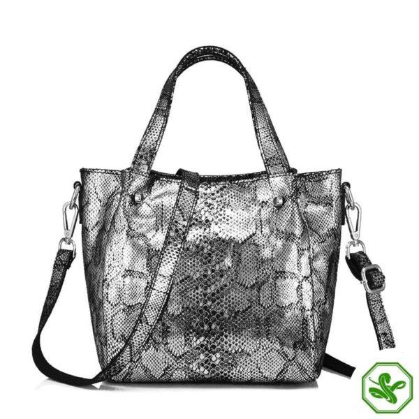 snake print bag silver