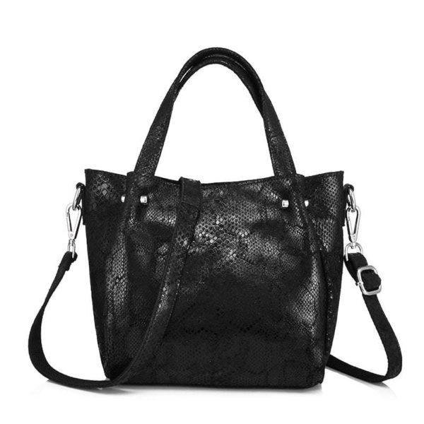 snake print bag black