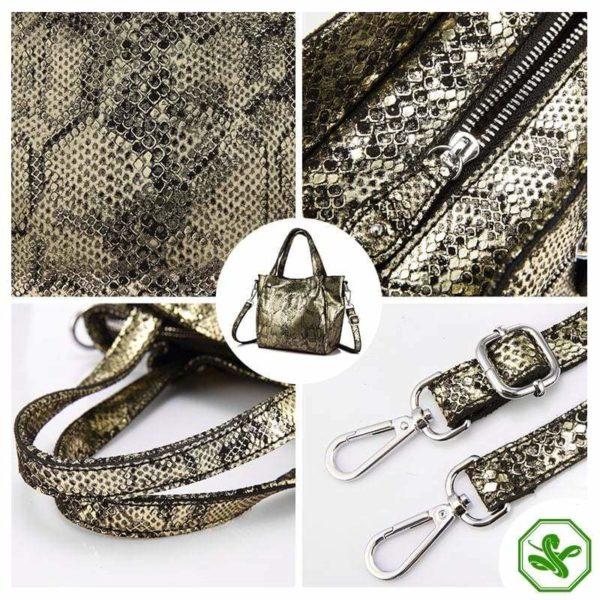 women's snake print bag black