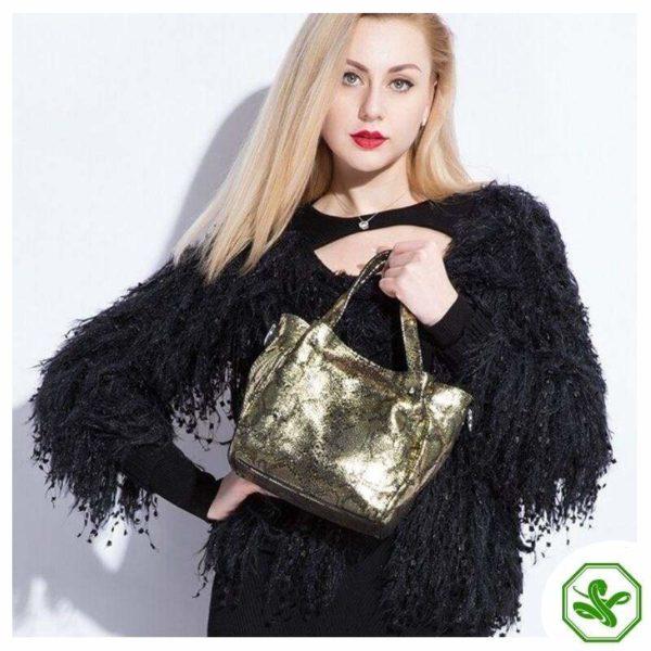 women's snake print bag gold