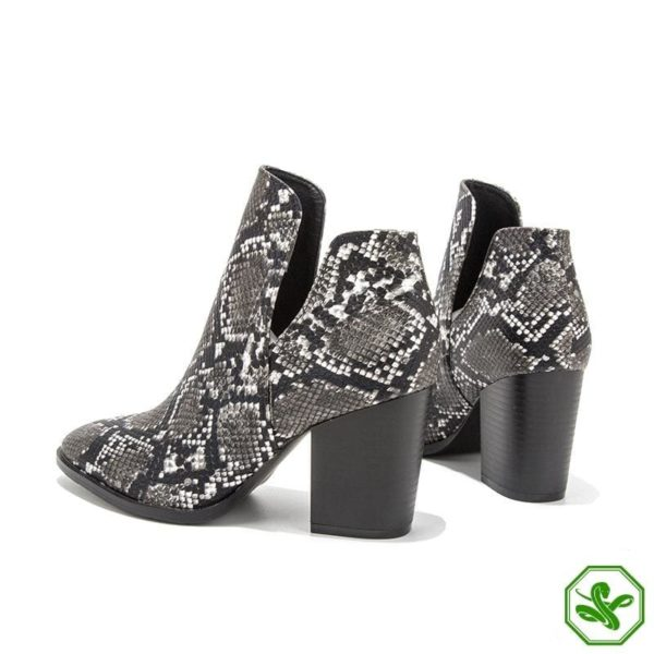 Snake Print Boots Low Heel 4