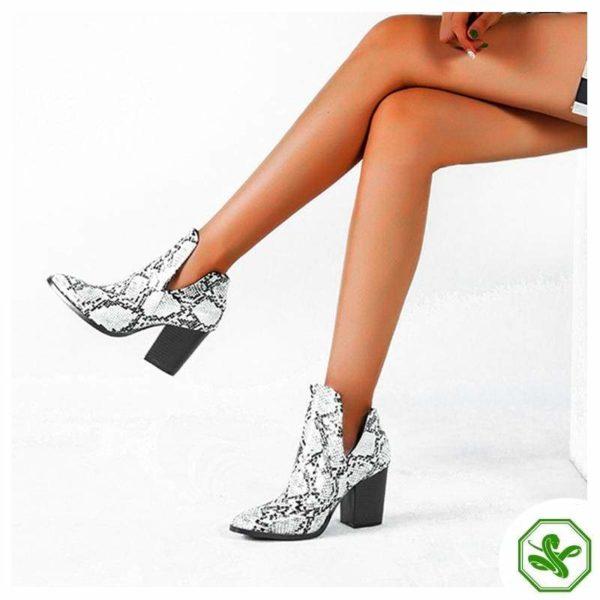 Snake Print Boots Low Heel 2