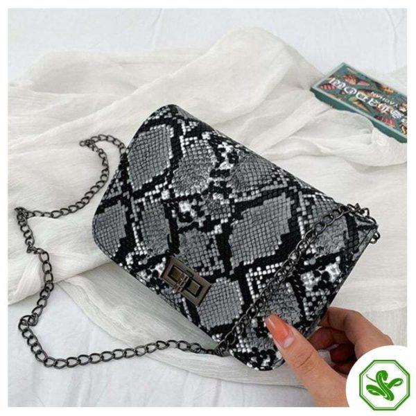 Snake Print Crossbody Bag Gray for Women