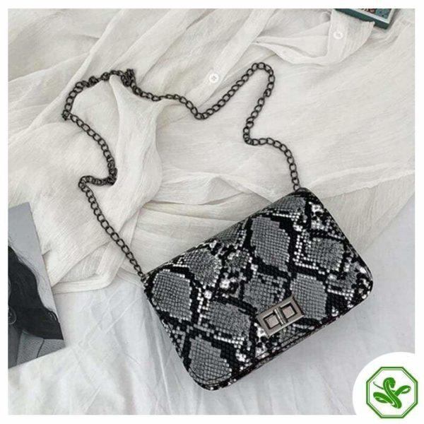 Gray Snake Print Crossbody bag