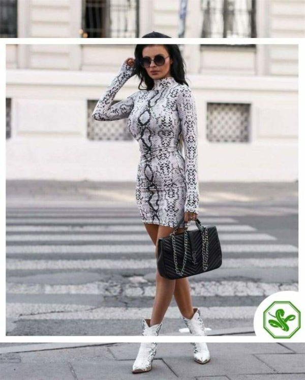 Snake Print Dress Long Sleeve White