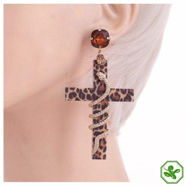 brown snake print earrings