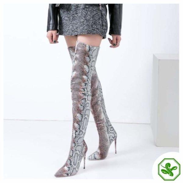 Snake Print Knee High Boots 3