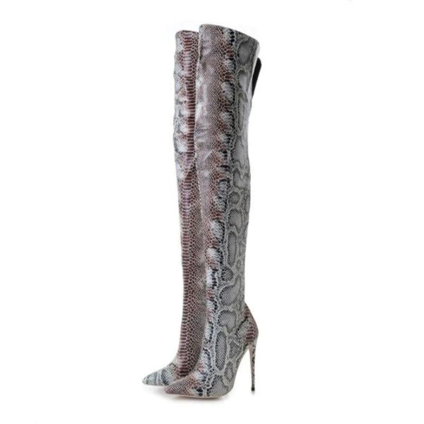Snake Print Knee High Boots 1