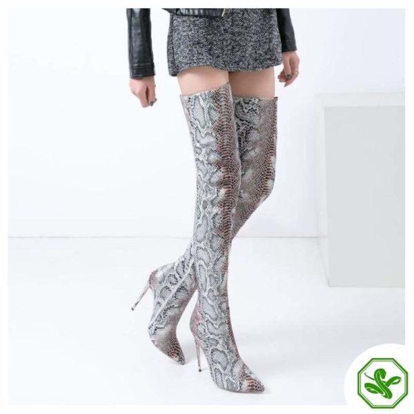 Snake Print Knee High Boots 5