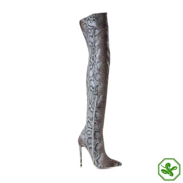 Snake Print Knee High Boots 8