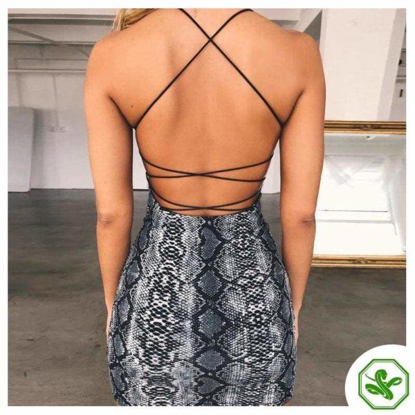 Snake Print Mini Dress Back