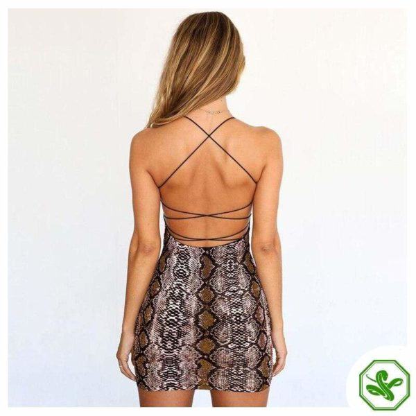 Snake Print Mini Dress Brown back