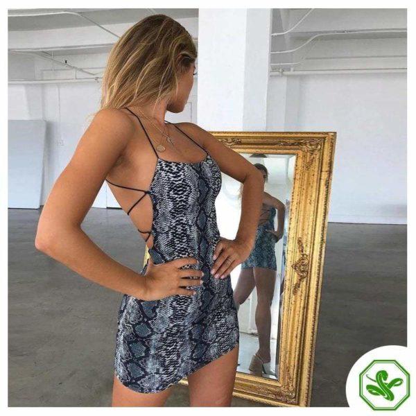 Snake Print Mini Dress Woman