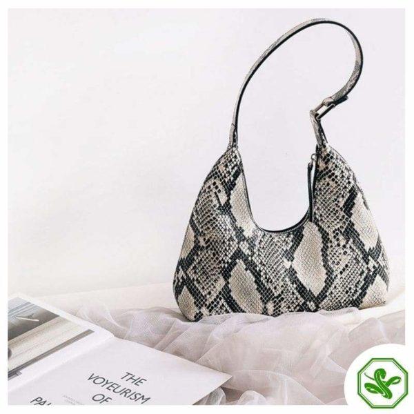 women's snake print shoulder bag