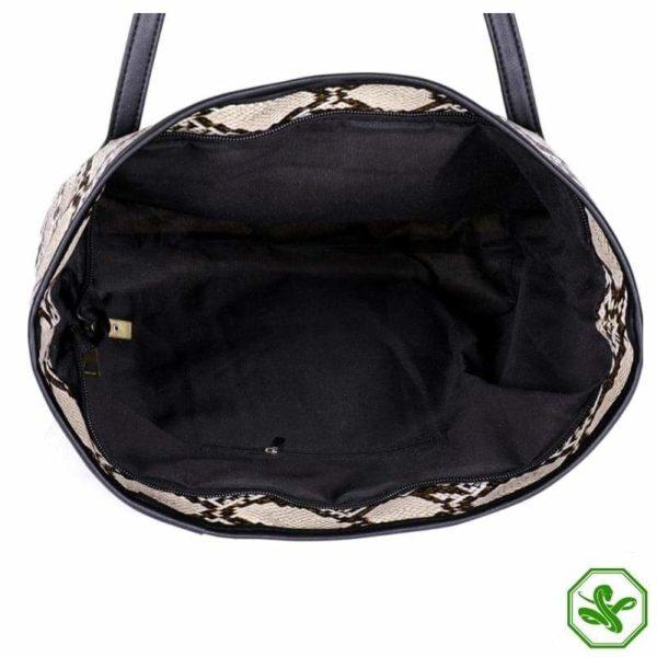 snake print tote bag inside