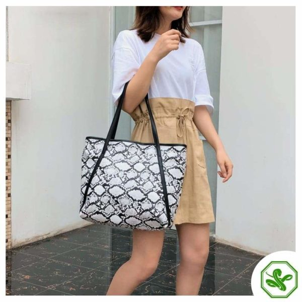 white snake print tote bag