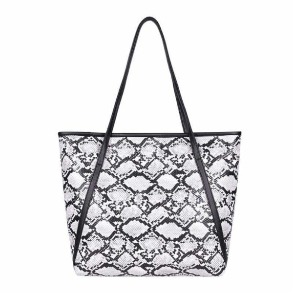 snake print tote bag