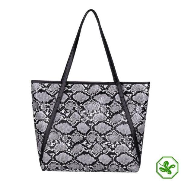 gray snake print tote bag
