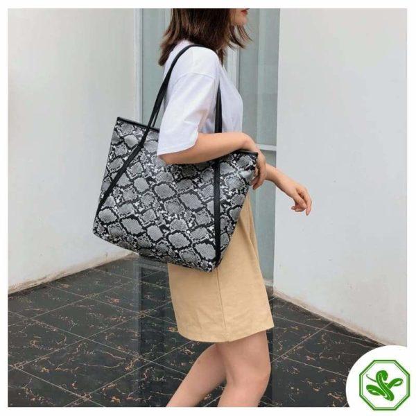 women's snake print tote bag