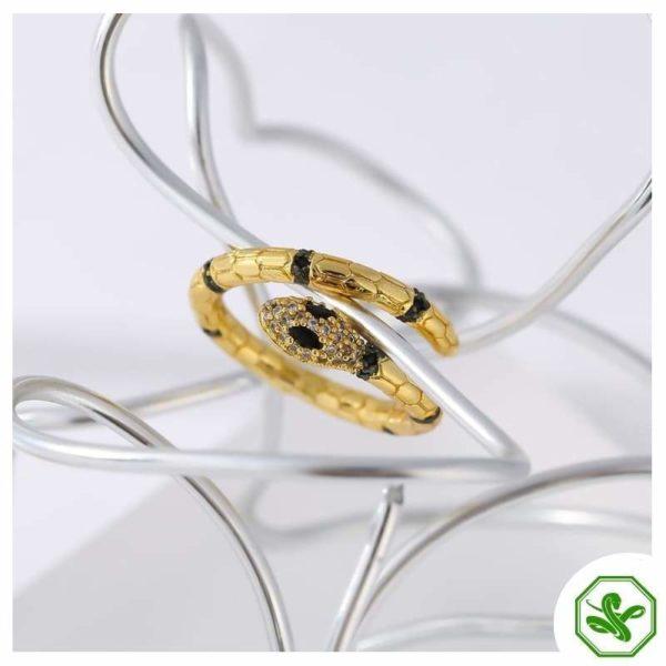 golden snake with black