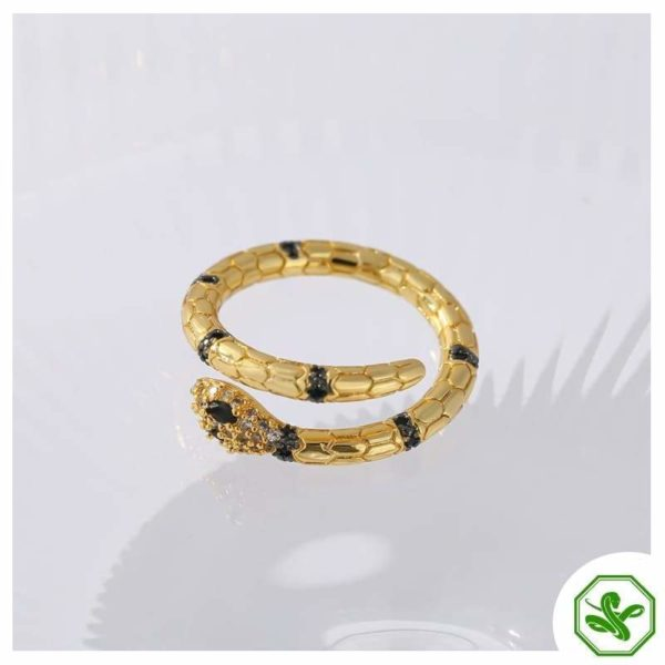 small snake ring gold and black