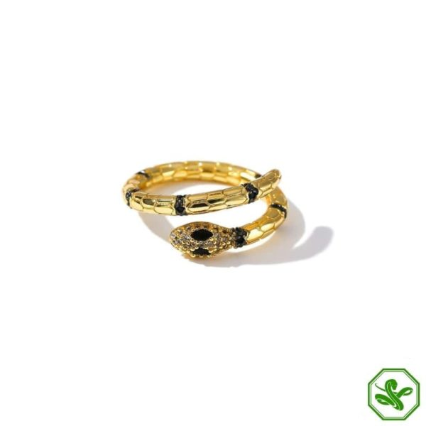black and gold snake ring